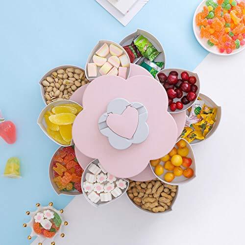 Blumen Rotating Süßigkeit Kasten 2 Schicht Drehbares Nüsse Tablett Bloom Rotating Snack Box Flower Design Candy Food Storage Box (Pink) (Bloom Box)