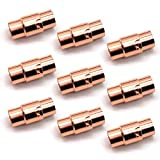 REKYO Rose Gold Leder Schnur Ende Kappe/Magnetverschluss mit Sperren Mechanismus Leder Seil Armband Schnalle (6-10)