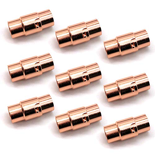 REKYO 10PCS Schnalle Leder Schnur Ende Cap/magnetischen Verschluss mit Verriegelung Seil Lederarmband (Roségold 3mm)