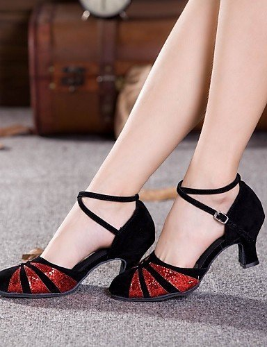 ShangYi Chaussures de danse (Rouge/Argent/Or) - Non personnalisable - Talon Large - Suédé/Paillette - Moderne black and gold