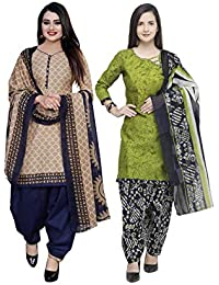 Rajnandini Women's Cotton Unstitched Salwar Suit (Pack of 2) (JOPL1006-3851_Beige & Light Green_Free Size)
