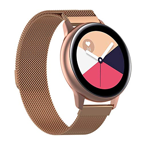 Tim Stevenson Compatible with Samsung Galaxy Watch Active 2 Watch Stainless Steel Watch Strap Watchband Rose Gold