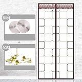 Magnetische Bildschirmtür, Klettverschluss Klimaanlage Vorhang Haushalt Schlafzimmer Trennwand Vorhang Küche Anti-Staub Klimaanlage Insektenschutz-70x210Cm-Kaffee