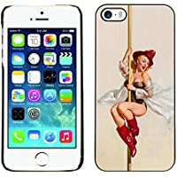 Qstar Art & Design plastica dura Guscio Protettivo Cassa Cover Per Apple iPhone 5 / iPhone 5S ( Pin Up Fire Department Woman SexyArt)