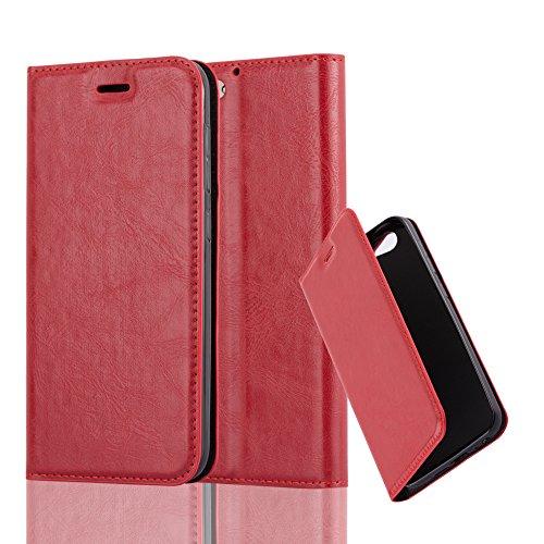 Cadorabo Hülle für HTC ONE A9S - Hülle in Apfel ROT - Handyhülle mit Magnetverschluss, Standfunktion & Kartenfach - Case Cover Schutzhülle Etui Tasche Book Klapp Style
