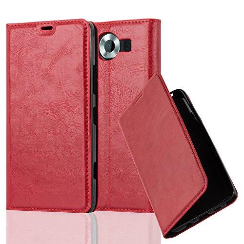 Cadorabo Hülle für Nokia Lumia 950 - Hülle in Apfel ROT - Handyhülle mit Magnetverschluss, Standfunktion & Kartenfach - Case Cover Schutzhülle Etui Tasche Book Klapp Style