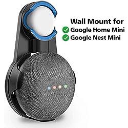 Support Mural pour Google Nest Mini (2nd Gen), SPORTLINK Prise Wall Mount Compatible avec Google Home Mini, Cache Le Long câble (Noir)