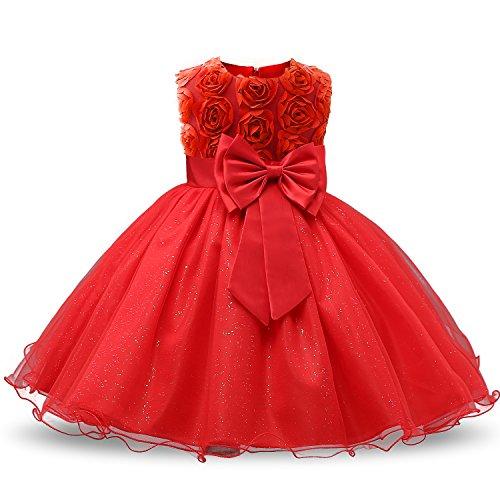 NNJXD Mädchen Ärmellos Spitze 3D Blumen Tutu Urlaub Prinzessin Kleider Größe(160) 7-8 Jahre Rot