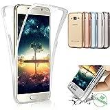 XINYIYI 360 Grad Silikon Hülle für Galaxy S7 Edge, Full Body Cover 2 in 1 Handyhülle Ultra Dünn Vorne und Hinten Weiche Transparent TPU Schutzhülle Komplette Slim Fit für Samsung Galaxy S7 Edge - Durchsichtig