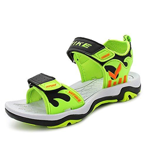 VITIKE Kinder Sandalen Offener Zeh Sport Draussen Schuhe Weg Gehen Strand Turnschuhe(Kleinkind/Kleine Kinder/Großer Junge-Grün-EU35) (Good Feet Store-schuhe)