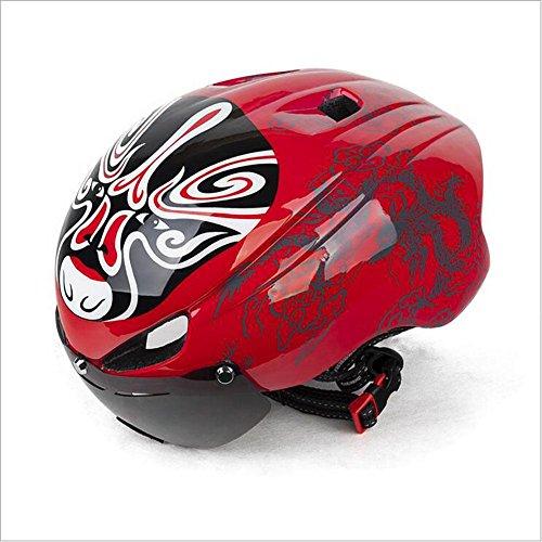 Fahrrad Peking Opera Gesicht Mount Helm Mountain Bike Einteiler montiert Helm mit Brille Warnlicht , red , (Kind Handschuhe Opera)