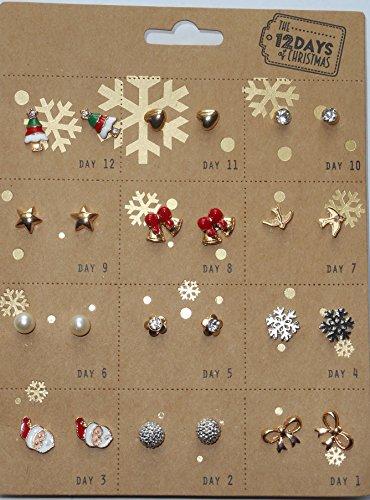 Mädchen/Damen Ohrringe 12Days of Christmas Fancy Kleid Weihnachten (Fancy Dress Kostüme N)