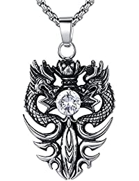 Stainless Steel Double Dragon Sword W. Cubic Zirconia Pendant Necklace, Round Link Chain - G2100QY1