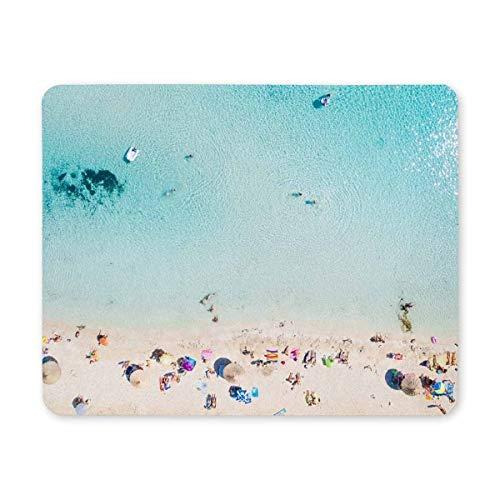 Yanteng Tappetino per mouse da gioco, Tappetino per mouse Sandy Beach con piscina per turisti