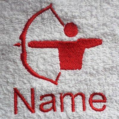 Preisvergleich Produktbild Waschlappen,  Handtuch,  Badetuch oder Badelaken personalisiert mit Bogenschießen Logo und Namen Ihrer Wahl,  100 % Terry-Baumwolle,  White,  Black,  Aqua,  Cream,  Chocolate,  Navy Blue,  Sky Blue,  Bath Towel 70x130cm