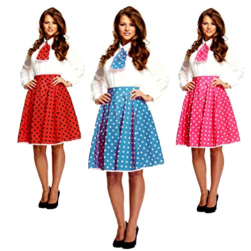 Kostüm Fett Lady Pink - sowest 50s Polka Dot Skirt Ladies Fancy Dress Rock and Roll Womens Adult 1950s Costume