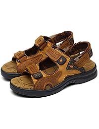 Sandalias de cuero de los hombres cómodo usar sandalias duraderas y antideslizantes de la playa deporte del verano que vadea los zapatos , hl1215 dark brown , 40
