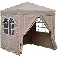 Airwave Pop Up Gazebo Canopy with Four Side Panels and Carrybag (Beige)
