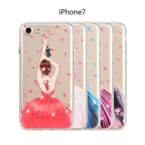 WE LOVE CASE iPhone 7 Coque, Étui de Protection en Premium Transparente Clair TPU Silicone Housse, Mince Motif Case Pour iPhone 7 - Fille rose Girl rose rouge