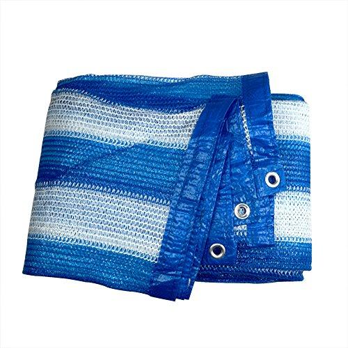 85% Bleu Blanc Rayures Sun Shade solaire filet en maille avec ruban adhésif renforcé et rondelle 6.5'x6.5' bleu/blanc