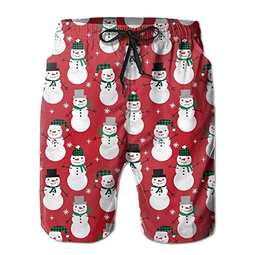 cleaer Christmas Snowman Summer Men Summer Surfing Quick-Drying Swim Trunks Shorts Beach Pants with Pocket XX-Large -