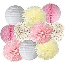 Furuix - Lote de 10farolillos de papel en forma de bola o flor o panal para decoración, bodas o fiestas, diseño liso o a lunares, color crema y rosa