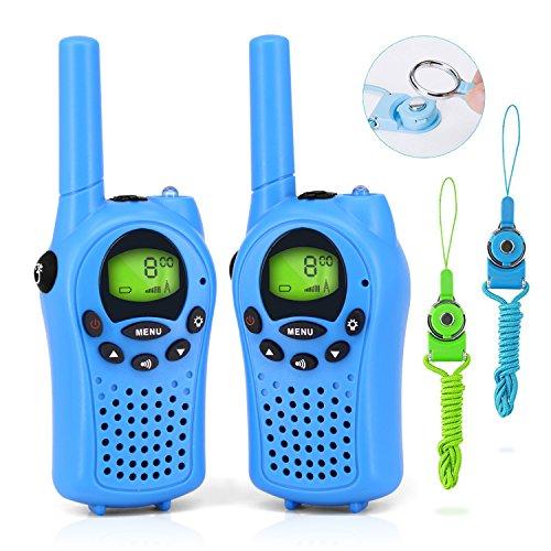 Waitiee 2 x Talkie Walkie Enfant 0,5W 8 Canaux Lot de 0.5W Ecran LCD Lampe Torch VOX Clip De Ceinture Fonction D'écran De Verrouillage Walki Talki Pour Enfants Bleu (Bleu) 0756244611488