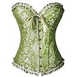 FeelinGirl Frauen Bridal Wäsche schnürt sich oben Satin ohne Knochen Korsett mit G-Schnur XXL Grün