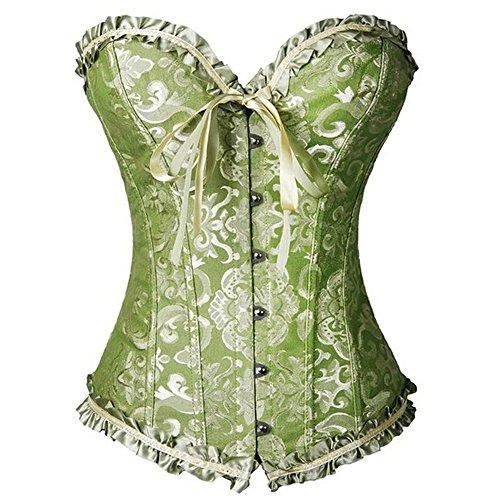 FeelinGirl Frauen Bridal Wäsche schnürt sich oben Satin ohne Knochen Korsett mit G-Schnur 6XL Grün