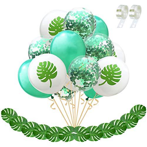 Dsaren 29 Stück Hawaiian Party Dekoration Tropische Palmen Blätter Konfetti Ballons mit 2 Ballon Streifen Für Geburtstag Babydusche Strand Partyzubehör (Palmblatt)