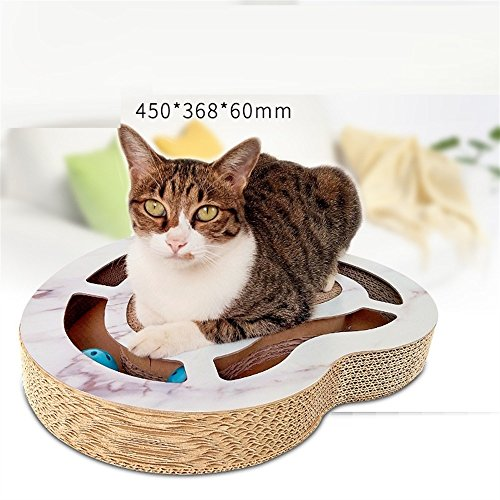 Annedenn giocattoli per animali domestici creatività giradischi a forma di testa di gatto con palla di carta ondulata cat scratching board cat giradischi per cat interactive toy