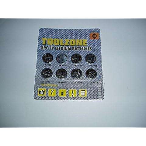 Toolzone–Juego Set–Juego de pilas de botón de litio 3V CR2016, CR2025& CR2032