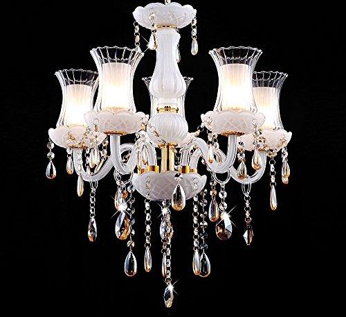 ... Klassisch   Modern Glas Kristall Kronleuchter Deckenleuchte  Hängeleuchte Lüster Mit Glas Lampenschirmen Ø 50cm 5xE14 Weiß ...
