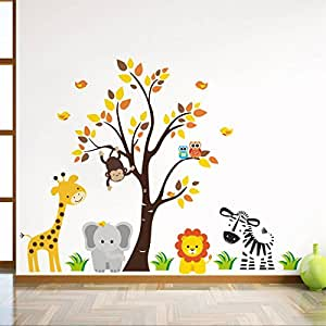 Rawpockets 'Baby Jungle Animals Story' Wall Sticker (PVC Vinyl, 0.99 cm x 110 cm x 85 cm)