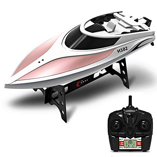 KINGBOT RC Boat, 2.4GHz 4CH High Speed Remote Control Boat with LCD Screen Racing Boat Electric Motor Ship Long Remote Control Distance for Adult and Kids (H102)