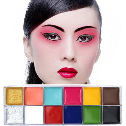 KAYI Gesicht Malerei 12 Farben, Körper Kunst Malerei Öl Blitz Farben für Halloween Party Make-up