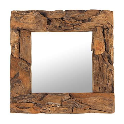 "DESIGN DELIGHTS Holz WANDSPIEGEL Teak 50\"" | Teakholz (erodiert), Natur, 50x50x3 cm (HxBxT) | Spiegel mit Rahmen aus Treibholz"