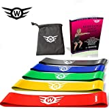wings Resistance Loop Bands Set of 5 for Heavy Medium Light Workout Exercise Mini Band for Legs Hip Butt Glutes EBook Instruction Manual Fitness Stretch Tube for Women Men