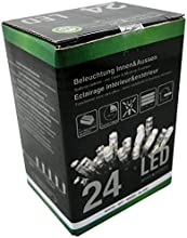 LED Luz Cadenas 24bombillas, luz blanca fría, temporizador, funciona con pilas, 8funciones
