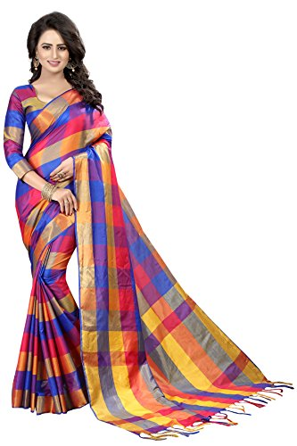 Perfectblue Cotton Silk Saree With Blouse Piece (Pink Blue_Free Size)