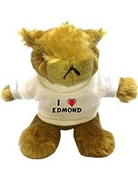Marmota de peluche (llavero) con Amo Edmond en la camiseta (nombre de pila/apellido/apodo)