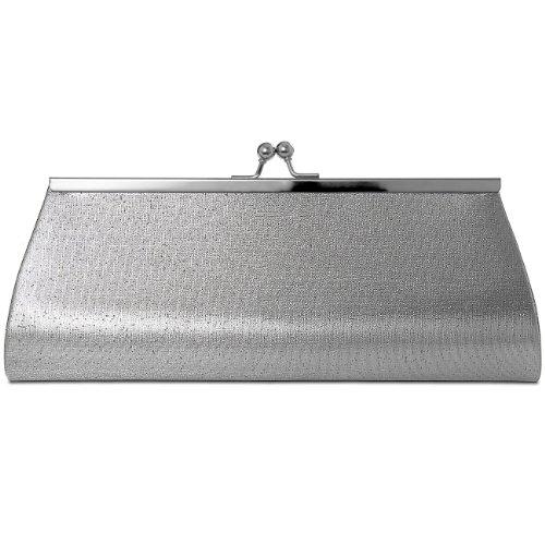 CASPAR klassische Damen Satin Clutch / Abendtasche mit elegantem Metallbügel - viele Farben - TA309 glamour silber
