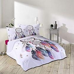 IMMIGOO 3 Teilig Bettwäsche-Set Bettbezug 200 x 200 cm + 2 Kissenbezug 50 x 70 cm Thema Traumfänger Bunt Bettwäsche Dekoration – Weiß
