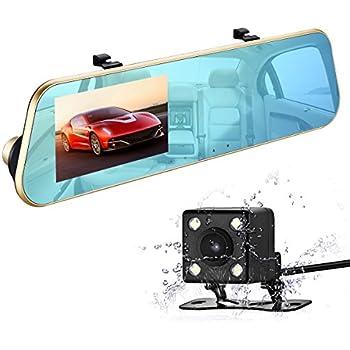 """isYoung 1080P Double Caméras de Voiture Avant et Arrière & Enregistreur de voiture 170°Grand Angle+Retroviseur Anti-Eblouissement + L'écran 4.3"""" LCD+Caméra de Recul Etanche"""