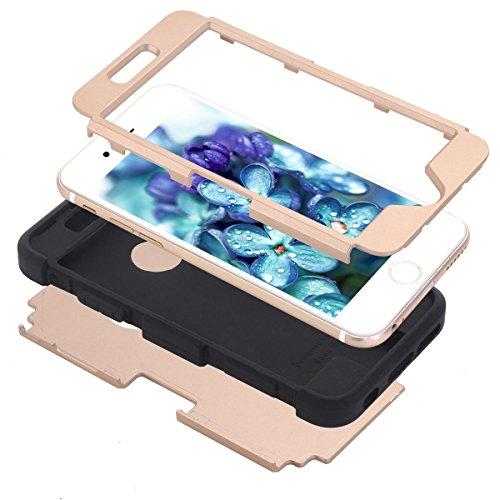 Coque pour iPhone 6 / iPhone 6s 4.7 inch Antichoc, Moonmini 3 en 1 Hybride Combo Shockproof Résistant Etui Housse Integrale Resistante Incassable Survivor - Gold + Black