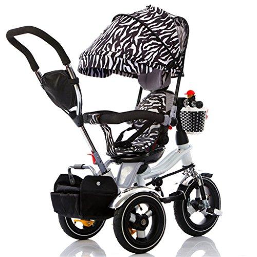 4-in-1 Kinder Dreirad Paw Patrol, Multifunktions Faltbare Trolley Fahrrad Kinder Push Trikes für Baby 3 Rad Fahrrad mit Eltern Griff und Anti-UV-Markise ( Farbe : Black and white stripes )