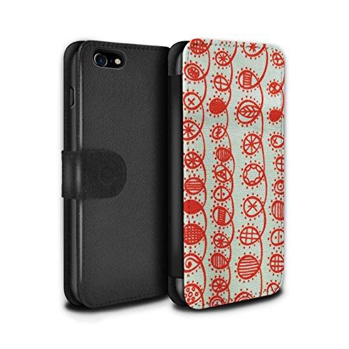 STUFF4 PU-Leder Hülle/Case/Tasche/Cover für Apple iPhone 8 Plus / Gelber Stoff Muster / Heimtextilien Kollektion Wirbelt
