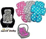 Sweet Baby ** SLEEPY Auto-Sitzverkleinerer / NeugeborenenEinsatz Antiallergikum STARS** Passend für Babyschalen Gr. 0/0+ und Gr. 1 ** Ideal auch für Maxi Cosi, Cybex etc. sowie Kinderwagen, Babywanne etc. (Türkis)