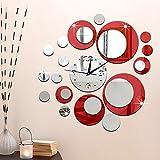 Forepin® DIY 3D Frameless Moderne Mur Grosse Sticker Horloge Pendule Murale Effet Miroir Maison et Bureau Décoration PS Plastique Miroir Rond Modèle Set - Rouge