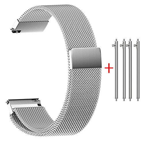 Lazzgirl Milanese Magnetic Loop Edelstahlarmbandarmbänder 22/20/18/16 / 14MM(Silber-)